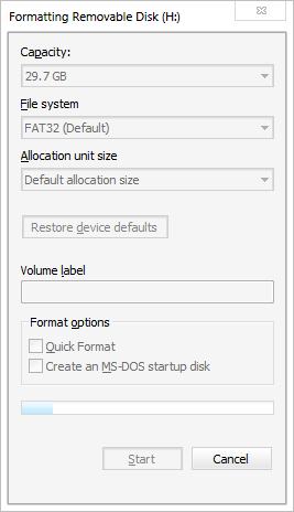 Format Disk Window