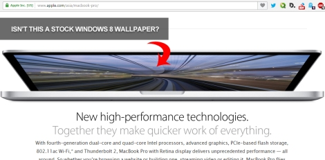 A snapshot of the official Mac OS X web page in Apple.com using Windows 8 wallpaper.