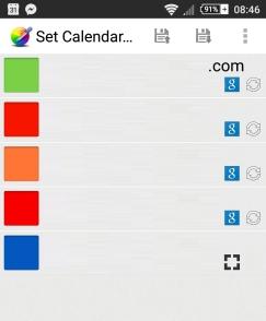 Set Calendar Colors: Main Screen