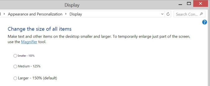 Display Scaling Settings Window