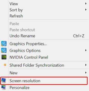 Screen Resolution Context Menu
