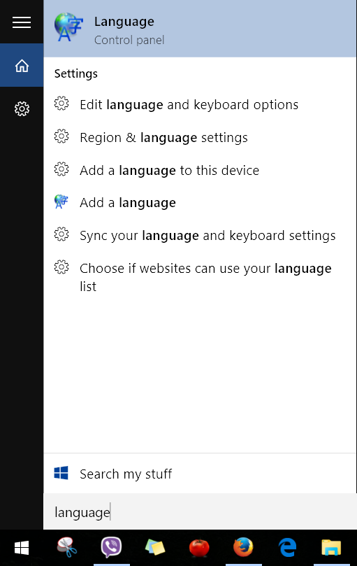 Start Menu - Language Control