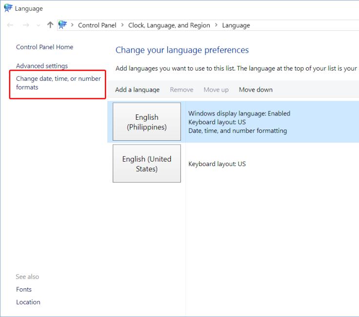 Language Control Panel - Language Preferences