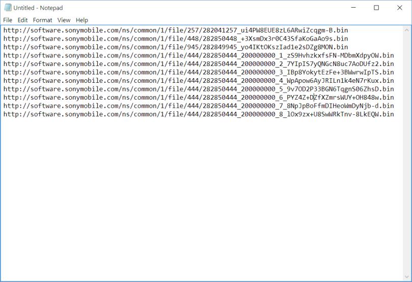Sample XperiFirm download URLs