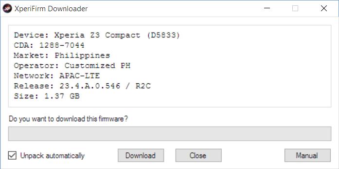XperiFirm download window