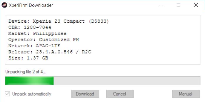 XperiFirm unpacking firmware files