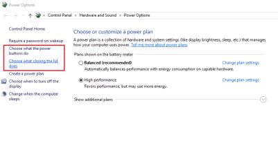 Power Options window