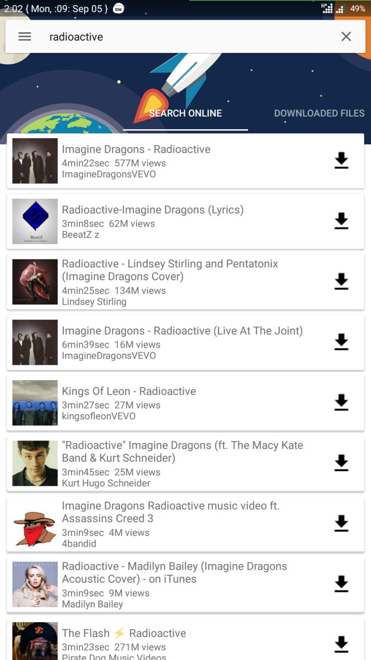 YouTube music main screen