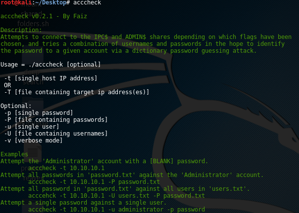 acccheck tool from Kali Linux